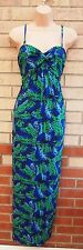 M&CO GREEN BLUE ABSTRACT BUTTERFLY PRINT STRAPPY SUMMER LONG MAXI DRESS 12 M