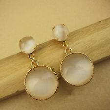 Cat Eye White Stone Round Lady's Earrings