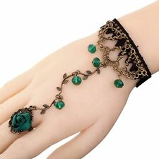 Lolita Green Beads Flower Cameo Black Lace Bronze Bronze Bangle Chain Individual