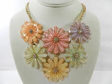 M. Haskell for Inc Gold-Tone Faceted Stone Mixed Pastel Flower Frontal Necklace