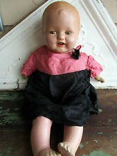 Antique Large Composition Baby Soft Body tin Eyes and Teeth Old silk dress 20""