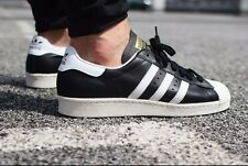 NWT Men's SIZE:10.5 adidas ORIGINALS SUPERSTAR 80'S BLACK WHITE STRIPES G61069