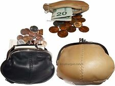 Lot of 3 New Women's 2 Sided 2 Pockets Leather Change Purse Coin purse wallet BN