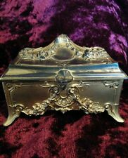 Antique French Art Nouveau Gilded Metal Jewelry Casket Box W B Manufacturing Co