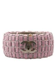 Chanel Pink Woven Raffia & Silver-tone  Bangle Bracelet