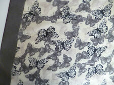 Ladies cream grey butterfly scarf wrap stole shawl pashmina sarong womens NEW