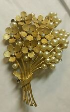VINTAGE CROWN TRIFARI TREE BRANCH RINGSTONE FAUX PEARL PIN BROOCH