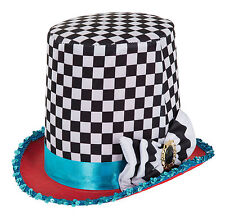 HALLOWEEN STOVEPIPE MAD HATTER CHEQUERED HAT FANCY DRESS ACCESSORY
