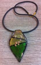 COLLANA pendente Foglia verde/oro in VETRO di MURANO Cm 42