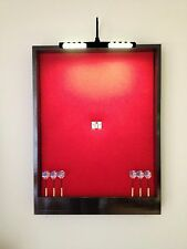 LIGHTED Red w/Black Trim Dart Board Cabinet w/LED Cordless Light & Dart Storage