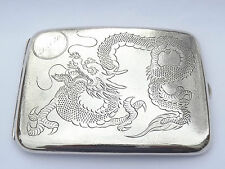 RARE ANTIQUE CHINESE EXPORT SOLID SILVER CIGARETTE CASE ENGRAVED DRAGON c1900