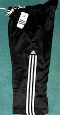 NWT Womens Adidas M Black/White Clima ESS Capri 3 Stripe Pants Medium 8-10
