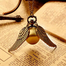 Wholesale Bronze Snitch Ball pocket watch Necklace Locket with Wings HOT