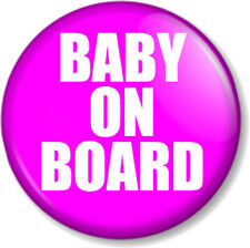 """BABY ON BOARD PINK 25mm 1"""" Pin Button Badge Pregnant Mother Mum to Be Expecting"""