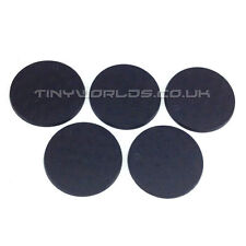 5 x 50mm Round Black Plastic Bases - Wargaming Warhammer 40k Slot Slotta Base
