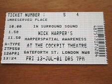 NICK HARPER - THE COCKPIT THEATRE LONDON 13.7.2001 USED CONCERT TICKET