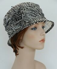 New Church Kentucky Derby Wedding Sinamay  Ascot Cloche Dress Hat 1711 Zebra