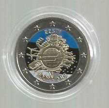 2 Euro 2012 aus Estland, 10 Jahre Euro Bargeld, coloriert / farbig (J)