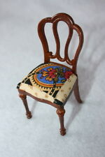 Dollhouse Miniature FURNITURE Wooden Walnut Vanity Chair