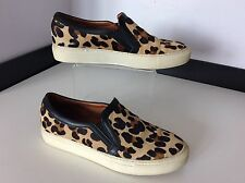 SANDRO pony Leopard Print Black Flat Sneaker Shoes Size 37 Uk 4 Slip On