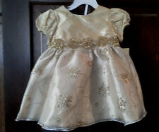 (NWT) Rare Too! Girl's Size 18 Mo Gold Floral Lined Holiday Dress Retails@$42.00