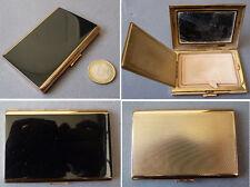 Poudrier en métal doré et laque noire ANCIEN vers 1940 Paris powder box