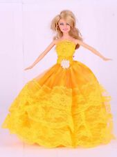 Wholesale Handmade Gold Yellow The original soft clothes dress for barbies doll