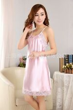Women/Lady Sexy Satin Silk  Nightdress Nightgown lace Sleepwear Pajamas pink