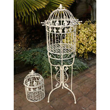 Floor Standing Ornamental Birdcage & Stand White Metal Free Smaller Bird Cage