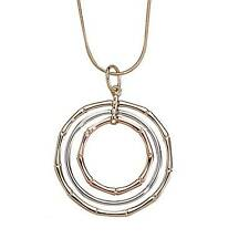 """Park Lane """"BAMBOO"""" NECKLACE  - Silver, Rose & Gold Rings - Light - Pretty!!"""