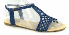 F0549 - Spot On Ladies T Bar Woven Look Sandals - Lilac, Navy Blue or Coral