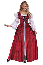 Ladies Historic Red Medieval Gown Fancy Dress Costume Queens Outfit