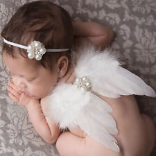 Newborn Baby Kids Feather Lace Headband + Angel Wings Flowers Photo Prop Costume
