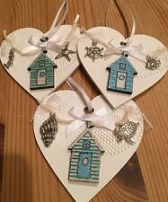 Nautical Seaside Beach Huts Hanging Decorations X 3 Shabby Chic Wood Heart Blues