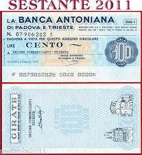 LA BANCA ANTONIANA PADOVA TRIESTE LIRE 100 4.7. 1977 COMMERCIANTI TRIESTE B286