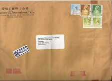 China Hong Kong large registered airmail cover $19.60 rate to Australia 1989