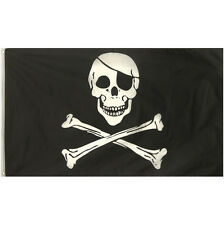LARGE 5FT X 3FT SKULL & CROSSBONES JOLLY ROGER PIRATE SHIP FLAG F77 016