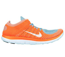 NIKE MEN FREE 4.0 FLYKNIT RUNNING SHOES ORANGE GRAY SIZE 14 NEW 631053-008