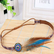 Retro Feather Hippy Headband Festival boho Hairband Floral Hair Accessories