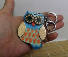 Brand New Kawaii Lovely Korean Style Lucky Owl Keychain Mirror Bag Dangle Blue