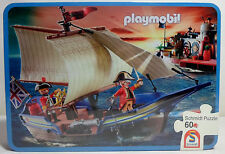 SCHMIDT PLAYMOBIL # 5140 56606 PIRATES REDCOAT BATTLE SHIP PUZZLE IN TIN BOX NEW