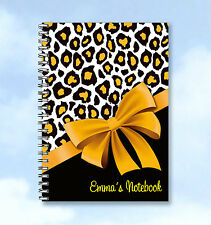 Personalised A5 2016 Diary Leopard and Golden Bow - any Name and text