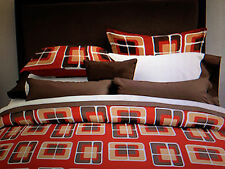 New-Retro Squares 7-piece Bedding Ensemble (California) King Size-ship free