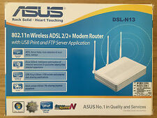 ASUS DSL-N13 802.11N WIRELESS ADSL 2/2 + MODEM ROUTER NEW & SEALED
