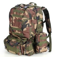 55L Military Molle Army Camping Backpack Tactical Hiking Bag Woodland Camouflage
