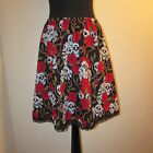 SKIRT SKULL ROSES ROSE A LINE GOTHIC PUNK BIKER DRESS SIZE 8- 26 CUSTOM MADE