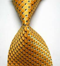 UK0055 Gold Black Striped New Silk Classic JACQUARD Woven Men's Tie Necktie