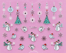 Christmas SILVER White Snowflakes Snowman Tree Bird 3D Nail Art Sticker Decal