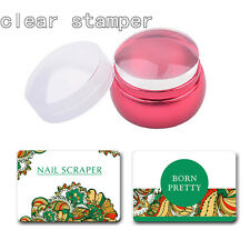 3Pcs/set Nail Art Clear Head Red Metal Stamper with Cap 2 Scrapers Manicure Tool