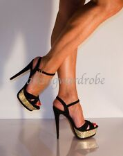 UK6 Dune Fabulous Black Suede Gold Textured Platform Ankle Strappy Open Sandals